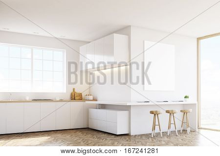 Side View Of Kitchen Countertop And Poster
