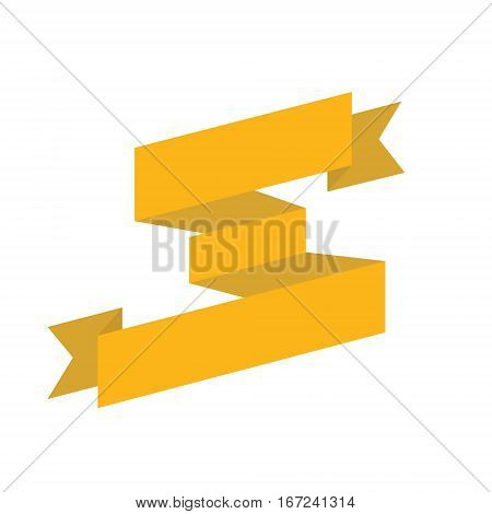 Gold big ribbon isolated. Graphic resourses for templates
