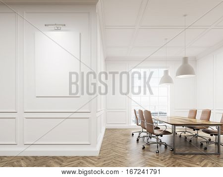 Meeting room interior with white walls long conference table surrounded with chairs and a large window. Vertical poster on the wall. 3d rendering. Mock up.