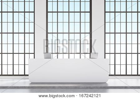 Front View Of White Reception Desk
