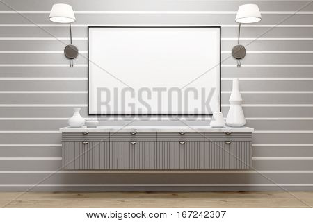 Room With Gray Drawers, Lamps, Poster, Gray Wall