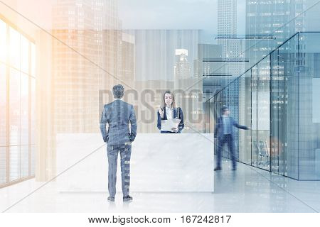 Man standing near a reception desk talking to a receptionist. His colleague is closing a meeting room door. 3d rendering. Mock up. Toned image. Double exposure