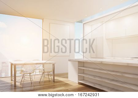 Corner Of Marble Kitchen With Poster, Toned