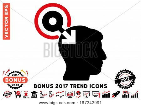 Intensive Red And Black Brain Interface Plug-In pictogram with bonus 2017 trend clip art. Vector illustration style is flat iconic bicolor symbols, white background.