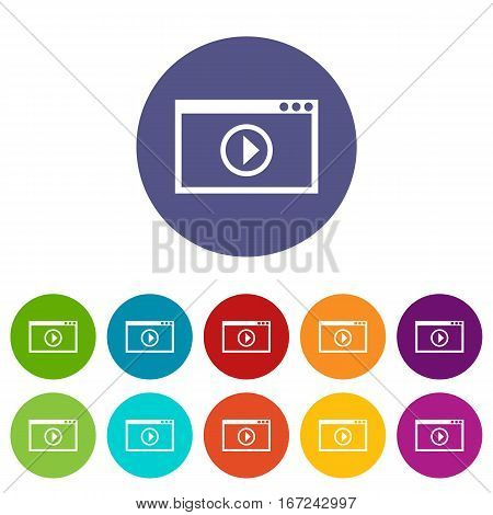 Program for video playback set icons in different colors isolated on white background