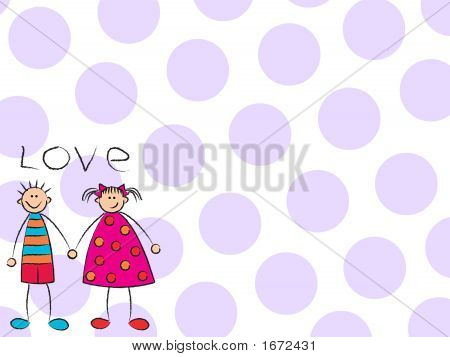 Boy + Girl = Love With Purple Background