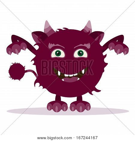 Angry cartoon monster. Halloween vector fluffy shaggy horned monster