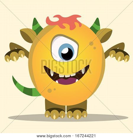 Angry cartoon monster. Halloween vector yellow and horned monster with menacingly raised arms