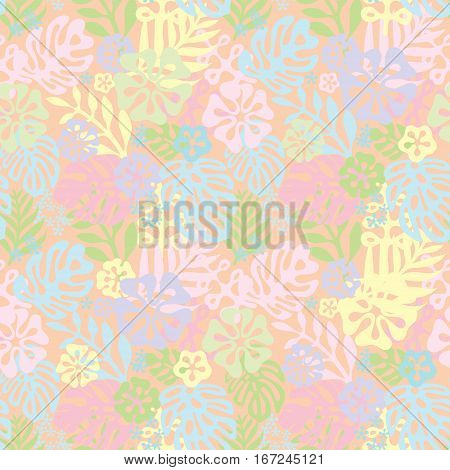 Summer exotic floral tropical seamless pattern. Vector delicate pink blue yellow colors seamless on the green background. Plant flower silhuette nature wallpaper. Flat style illustration
