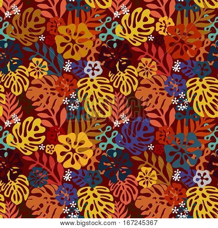 Summer exotic floral tropical seamless pattern. Vector bright brown yellow blue colors seamless on the brown background. Plant flower silhuette nature wallpaper. Flat style illustration