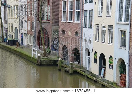 Utrecht the Netherlands - February 13 2016: Famous Oudegracht canal in the historic city centre