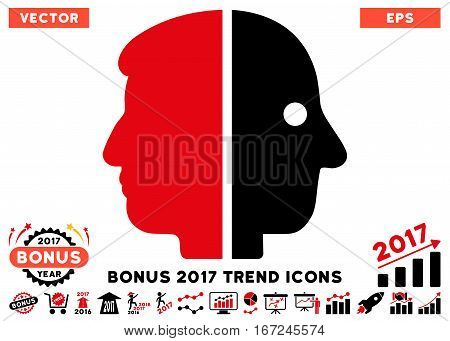 Intensive Red And Black Dual Face icon with bonus 2017 year trend icon set. Vector illustration style is flat iconic bicolor symbols, white background.