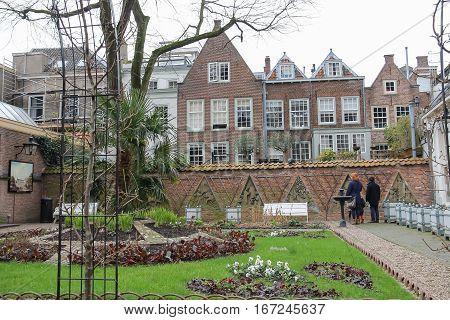 Utrecht the Netherlands - February 13 2016: Courtyard of Utrecht University in historic city centre
