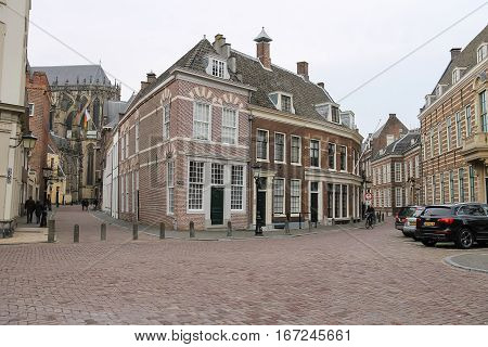 Utrecht the Netherlands - February 13 2016: Old buildings in historic city centre