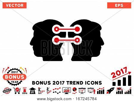 Intensive Red And Black Dual Heads Interface Connection pictogram with bonus 2017 year trend pictures. Vector illustration style is flat iconic bicolor symbols, white background.