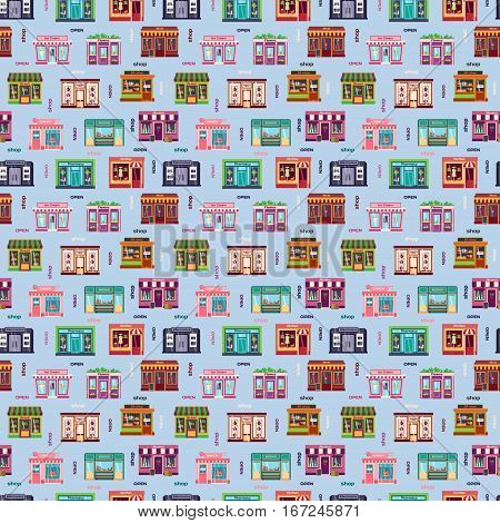 Shop facade vector pattern pattern. Restaurant food architecture window retail cafe seamless background. Bakery storefront building supermarket illustration.