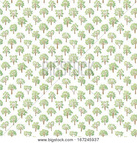 Tree seamless pattern with green leaf natural branches graphic. Vector illustration abstract decorative forest wallpaper. Nature background foliage plant silhouette.
