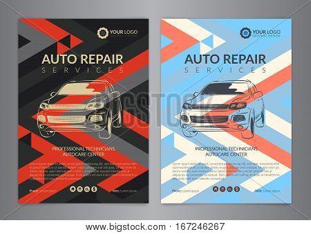 Set auto repair business layout templates automobile magazine cover auto repair shop brochure mockup flyer. Vector illustration.