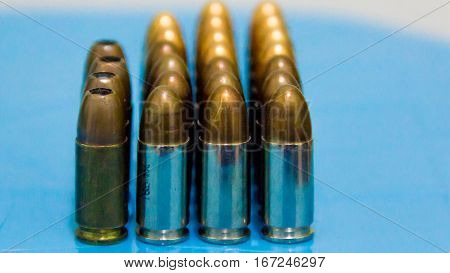 Bullets pistol handgun 9 mm. Set of bullets of hand gun