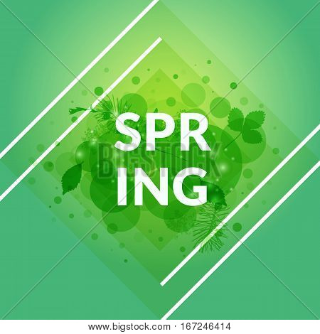 Stylish Spring banner vector isolated. Green foliage background. Floral decor. Design element for promotion, flyer, poster, invitation. Vector illustration