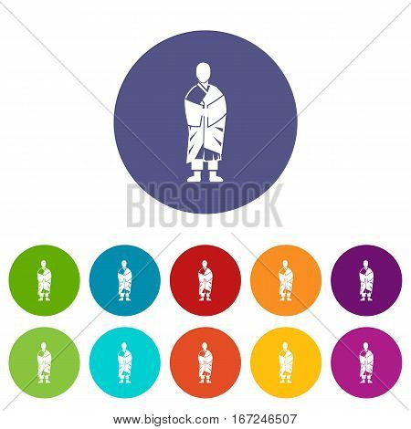 Buddhist monk set icons in different colors isolated on white background