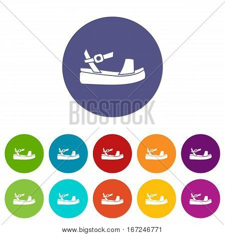 Women sandale set icons in different colors isolated on white background