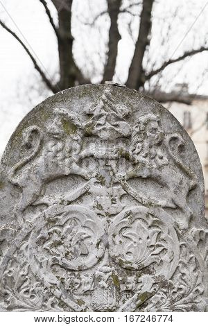 KRAKOW POLAND - MARCH 20 2116 : Tombstone( matzeva) on Remah Cemetery. Old Jewish Cemetery of Krakow is an inactive Jewish historic cemetery established in 1535.It is located next to the 16th-century Remah Synagogue.