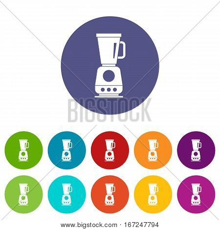 Blender set icons in different colors isolated on white background