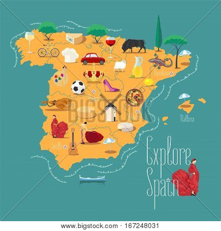 Map of Spain vector illustration, design element. Icons with Spanish famous landmark and culture. Explore Spain concept image