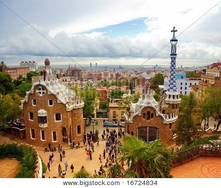 BARCELONA, SPAIN - OCTOBER 11: The famous Park Guell on October 11, 2010 in Barcelona, Spain. The impressive and famous park was designed by Antoni Gaudi.
