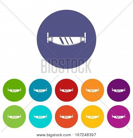 Two handled saw set icons in different colors isolated on white background