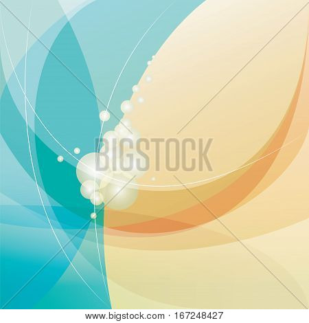Pearls abstract vector background, turquoise and yellow