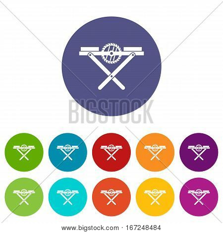 Power saw bench set icons in different colors isolated on white background