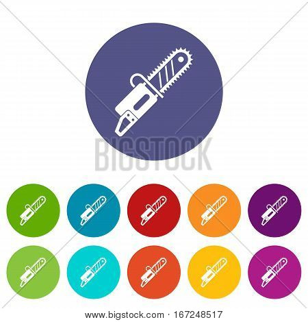 Chainsaw set icons in different colors isolated on white background