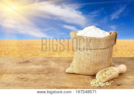 wheat flour in sack. Flour in bag on table with field of wheat on the background. Agriculture and harvest concept. Ripe wheat field, blue sky, sun. Photo with copy space area for a text