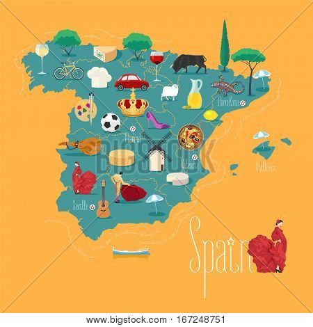 Map of Spain vector illustration, design. Icons with Spanish landmarks. Explore Spain concept image
