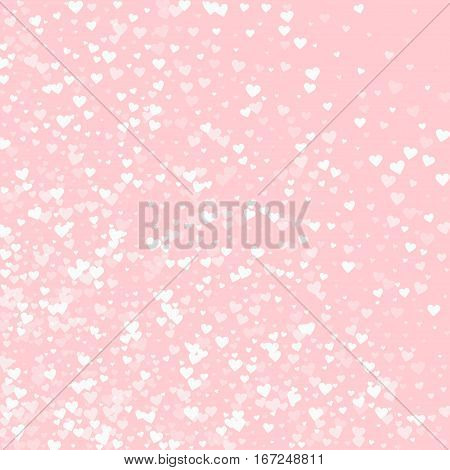 White Hearts Confetti. Abstract Mess On Pale_pink Valentine Background. Vector Illustration.