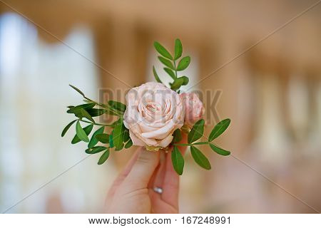 Boutonniere with a pink rose and a branch of pistachios in hand. Wedding concept