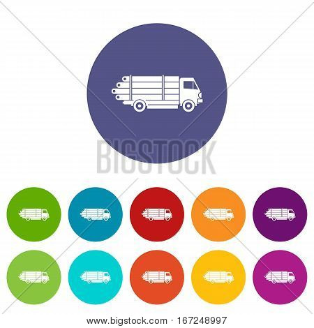 Log truck with the pile of logs set icons in different colors isolated on white background