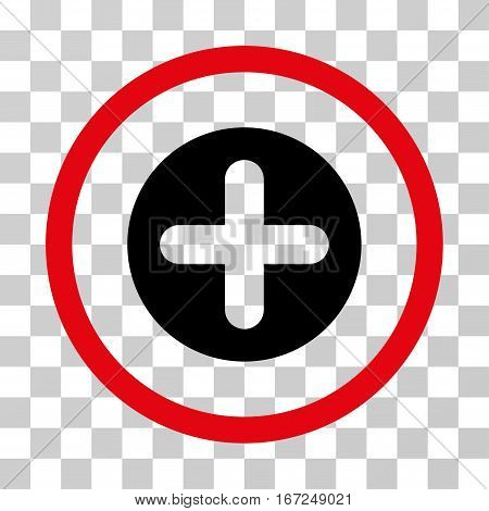 Create rounded icon. Vector illustration style is flat iconic bicolor symbol inside a circle, intensive red and black colors, transparent background. Designed for web and software interfaces.