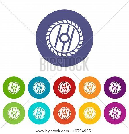 Circular saw blade set icons in different colors isolated on white background