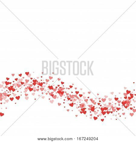 Red Hearts Confetti. Bottom Wave On White Valentine Background. Vector Illustration.