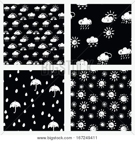 Vector collection of seamless hand drawn patterns. Rainy weather theme. Made with ink. Set of black and white patterns for fabric polygraphy web game design.