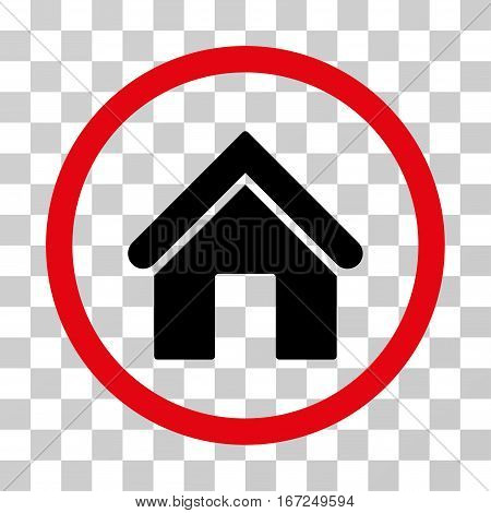 Home rounded icon. Vector illustration style is flat iconic bicolor symbol inside a circle, intensive red and black colors, transparent background. Designed for web and software interfaces.