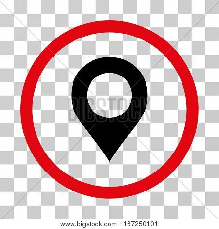Map Marker rounded icon. Vector illustration style is flat iconic bicolor symbol inside a circle, intensive red and black colors, transparent background. Designed for web and software interfaces.
