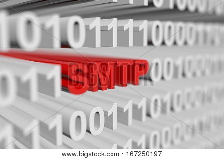 SMTP as a binary code with blurred background 3D illustration