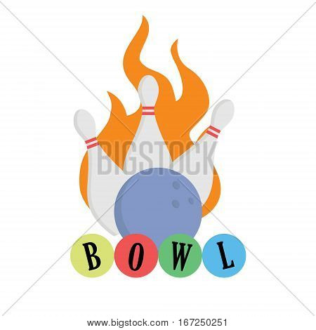 Bowling concept. Ball on fire isolated. Strike lettering