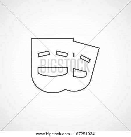 Vector flat stylize comedy mask icon. Isolated line icon for logo web site design button app UI. Line comedy mask illustration for posters cards book cover flyers banner web game designs.
