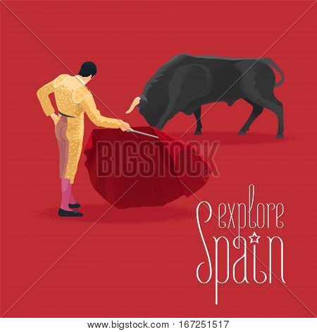 Bull and bullfighter on Spanish arena during bullfighting performance vector illustration. Visit Spain design element