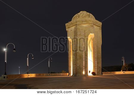 Baku, Azerbaijan. The eternal flame in the Alley of Martyrs.